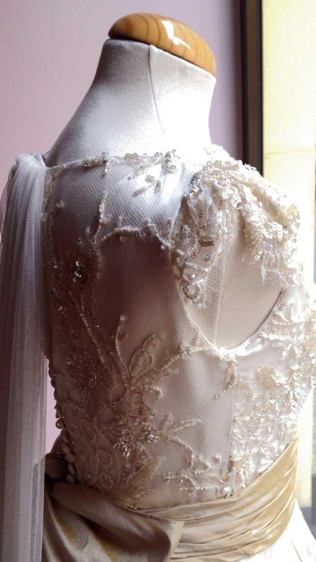 Vestido Monic novia con el detalle de cuerpo Chantilli