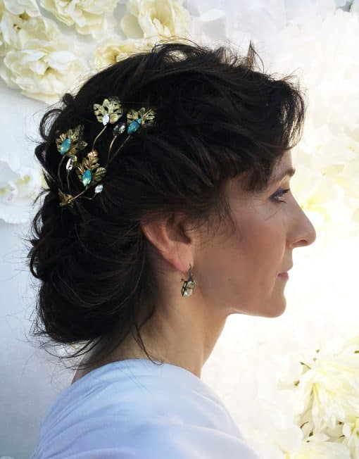 Tocado Joya Novia Tiara Olivia Hiedra - Monic