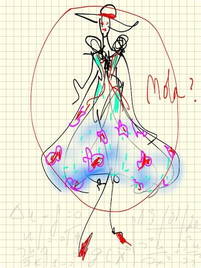 Inspiración Monic - Boceto de vestido y tocado