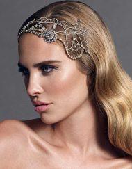 tocado joya cristal para novia con pelo suelta