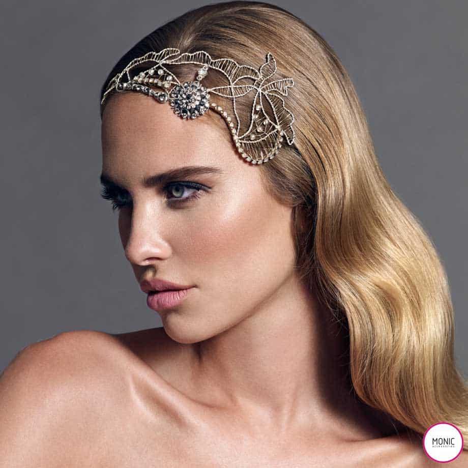 Tocados Joya Novia Racine Blonda de Encaje - Colección Monic 2014