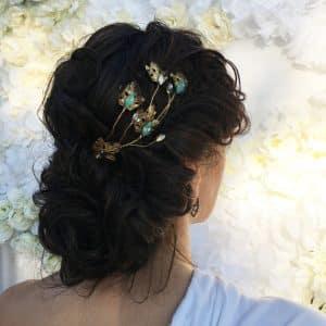 Tocado Joya Novia Tiara hojas metal dorado recogidos boda Monic