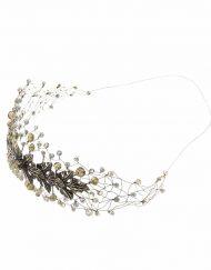 Tocado Joya Novia diadema tiara cristal swarovski metal hilos plata