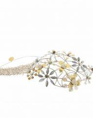 Tocado diadema joya Novia diadema tiara perlas cristal metal dorado