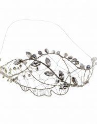 Tocado Joya Novia metal hilos plata cristal Swarovski - Monic