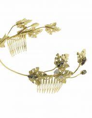 Tocado Joya Novia diadema dorada Tiara hojas metal oro cristal Monic