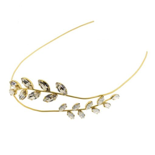 Tocado Joya Novia Diadema dorada hojas metal cristal - Monic
