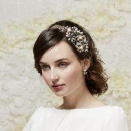 Tocado joya diadema tiara cristal perlas flores metal