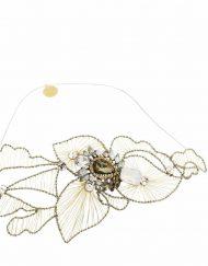 Tocado adorno pelo Joya cristal Novia flores hilo dorado plateado