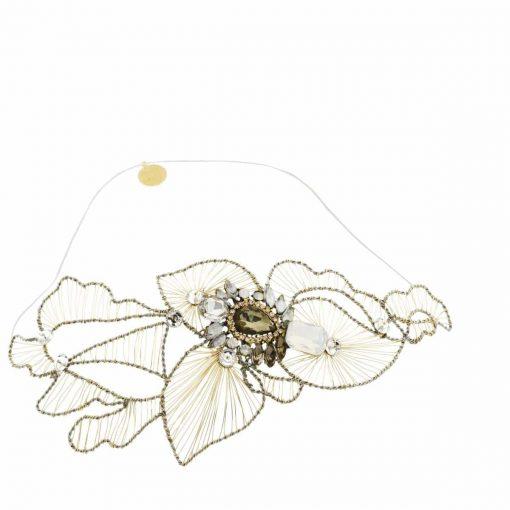 Tocado adorno pelo Joya Novia flores
