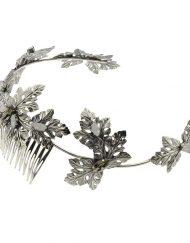 Tocado corona tiara Novia Diadema Hojas plateadas cristal swarovski- Monic