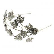 Tocado Joya Novia Diadema corona hojas metal plata
