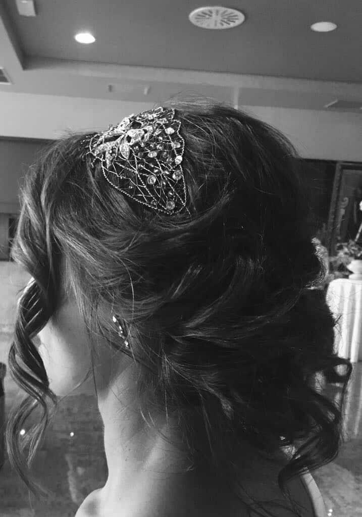 Tocado Joya para novia con Peinado Recogido
