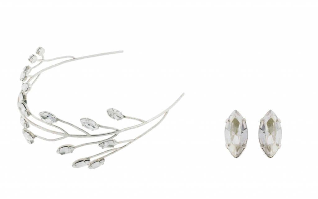 Pendientes plata cristal swavoski con tocado de Novia