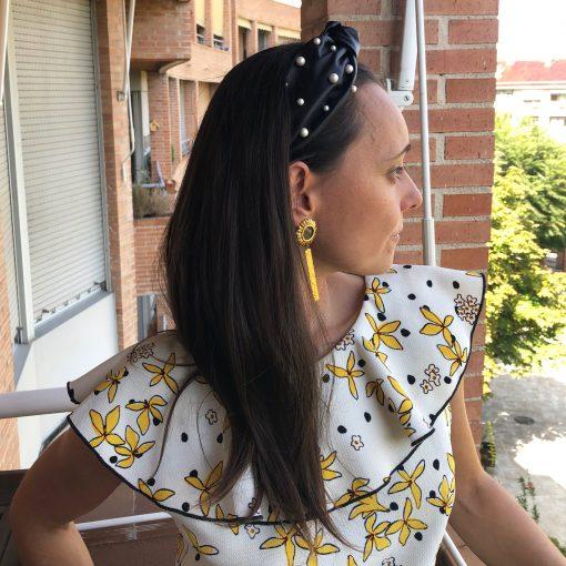 Diadema Turbante con perlas para invitada boda tarde noche