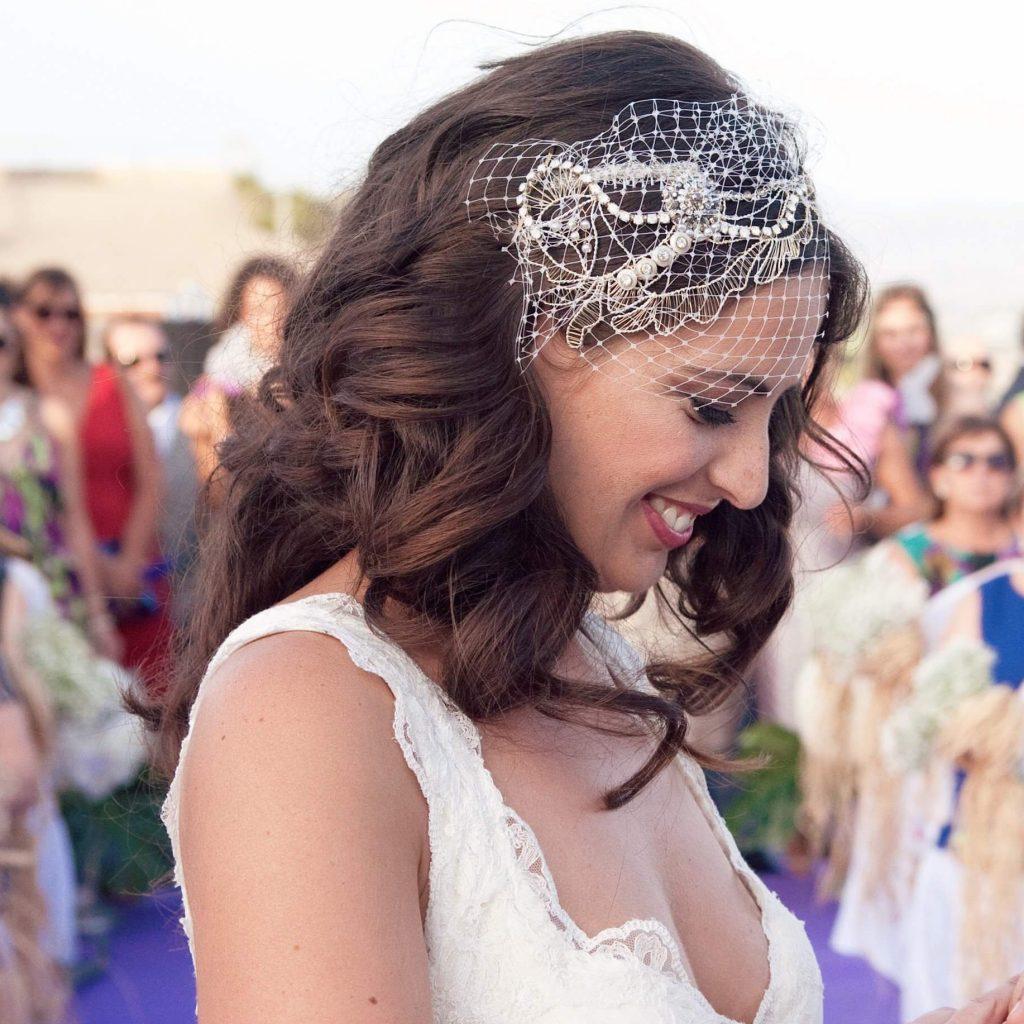 Tocados de redecilla para novia
