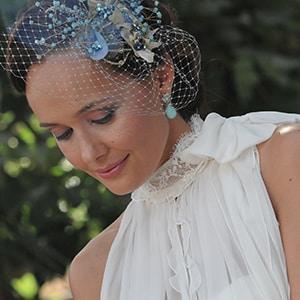tocado novia cristal y velo