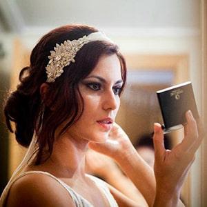 tocado de cristal con velo para novias