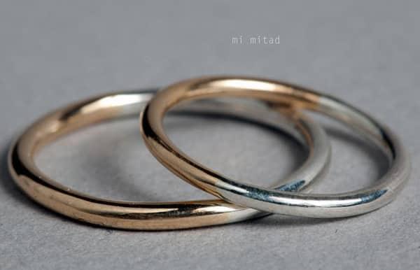 anillos de boda en Madrid en oro blanco y amarillo