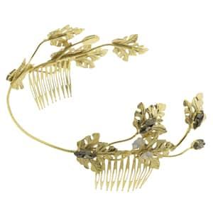 tiaras de novia con hojas doradas metal y cristal