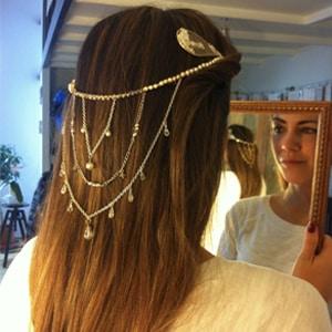 tocado tiara dorada personalizada para novia en Madrid