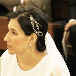 tocado novia con velo largo liso de boda
