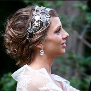 adorno pelo diadema tiara tocado joya metal plata con cristal