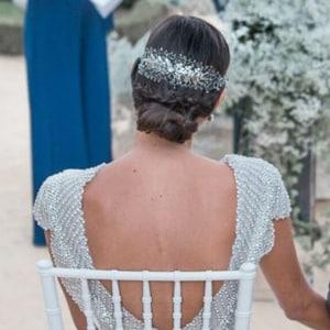 diadema corona tiara tocado joya plateado con cristal y metal