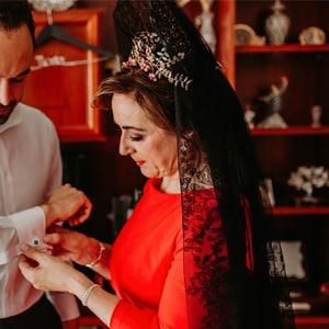 tocados joya adornos mantilla madrina boda