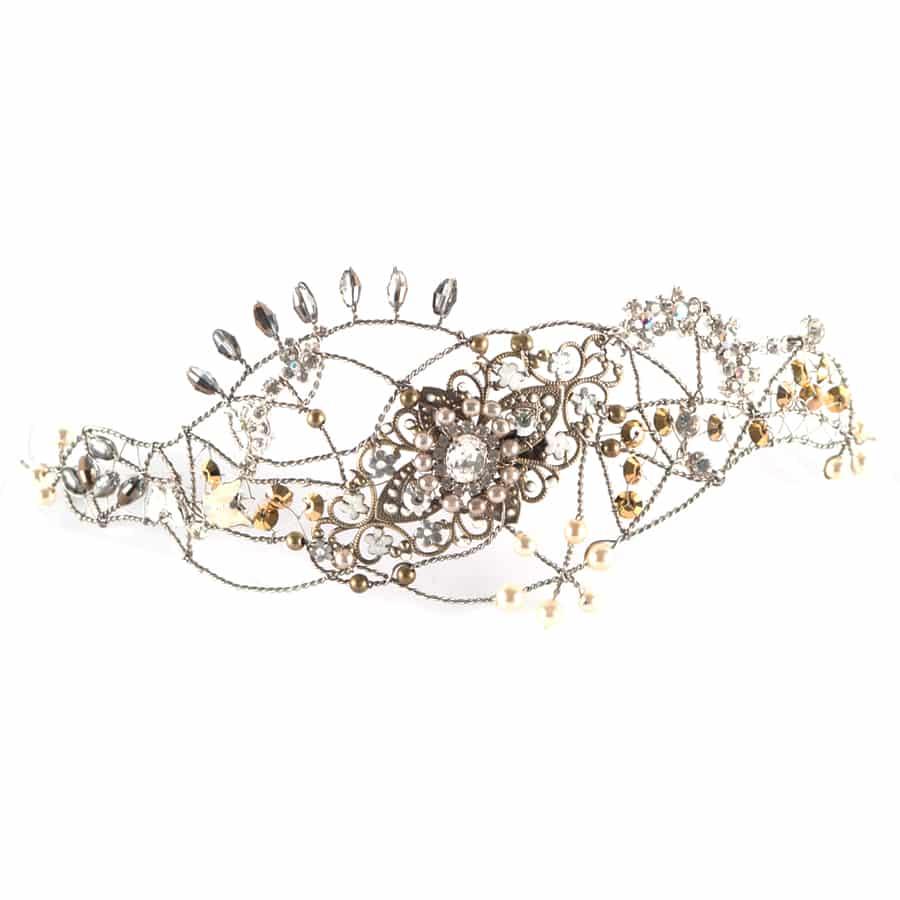 tocados joya plateados diadema cristal metal adorno pelo novia boda