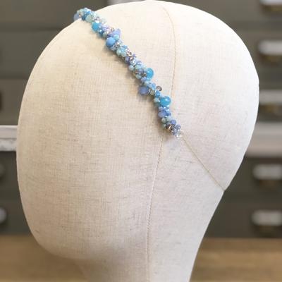diadema tiara cristal y piedras swarovski en azules