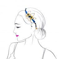 tocado diadema joya tiara dorada con piedras para invitadas boda fiesta noche