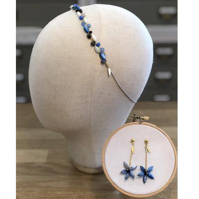 diadema accesorio adornos pelo piedras nácar azul invitadas boda fiesta