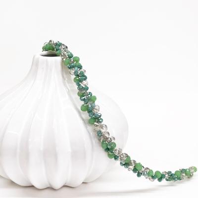 diadema fina elegante tiara fiesta bodas invitadas piedra cristal swarovski verde gris