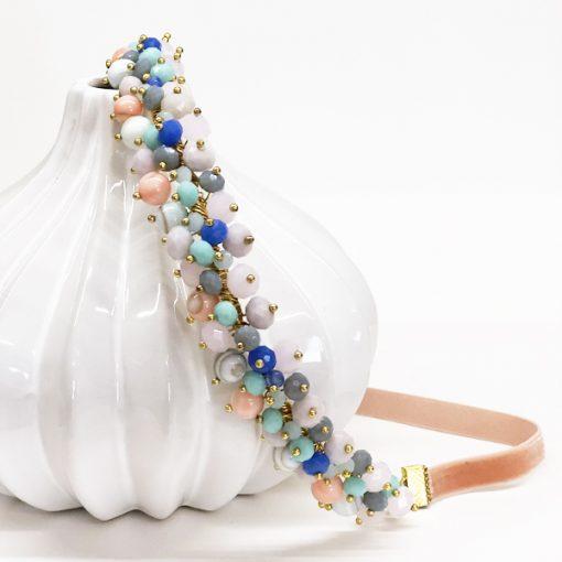 diadema accesorios pelo invitadas boda adorno cristal con piedras rosas verdeagua mint maquillaje