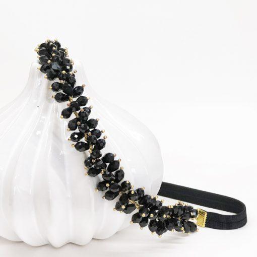 diadema tocado cristal negro para invitadas boda noche elegante