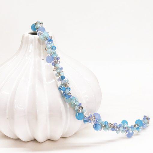 diadema de cristales azul invitadas boda fiesta noche