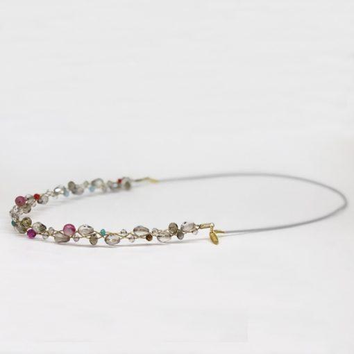 diadema tiara original para invitadas boda fiestas noche con cristal y piedras