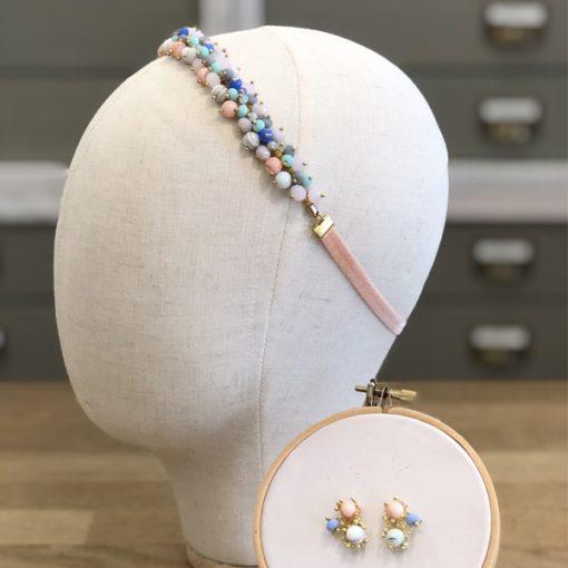 diadema tocado de fiesta accesorios pelo invitadas boda moda elegante cinta de cristal con piedras