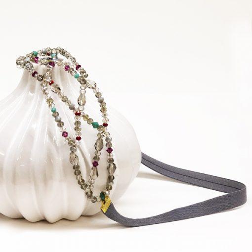 diadema invitada boda adorno sencillo pelo para fiesta tarde noche cristal gris