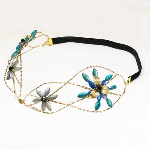diadema turbante con flores de piedras