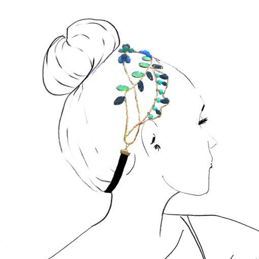 tocado diadema joya de cristal Swarovski con metal dorado piedras verde y azul para invitadas boda fiesta