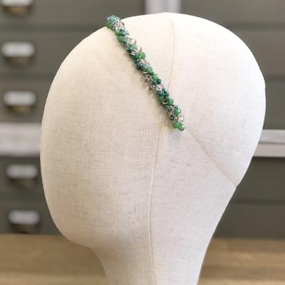 diadema tiara fiesta accesorios pelo invitadas boda moda cristal piedras verde