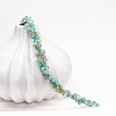 diadema fiesta invitada piedras mint verdeagua cristal swarovski