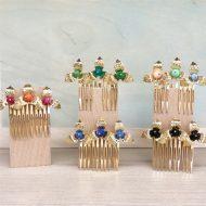 peinetas doradas adornos para peinados de invitadas fiesta
