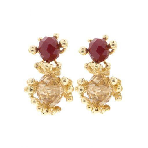 pendientes cortos elegantes de boda oro y cristal swarovski granate