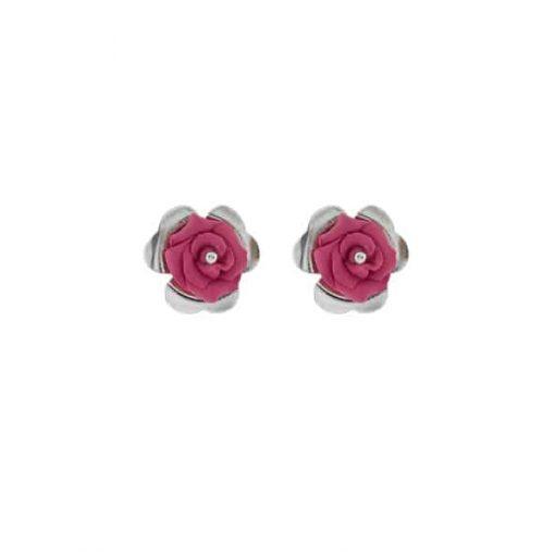 pendientes originales sencillos diseño plata con rosas porcelana