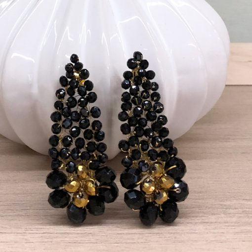 pendientes negros largos invitada fiesta negros cristal swarovski dorados gota lágrimas grandesfiesta
