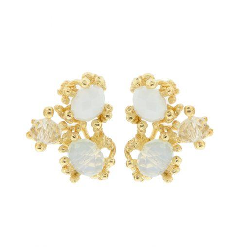 pendientes boda novia dorados flores cristal Swarovski originales elegantes diferentes online