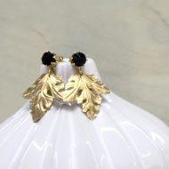 pendientes de fiesta boda con hoja dorada y cristal negro